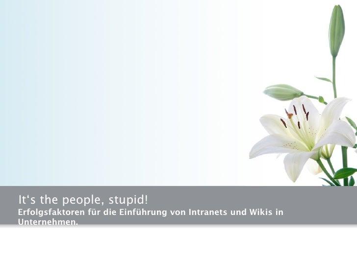It's the people, stupid! Erfolgsfaktoren für die Einführung von Intranets und Wikis in Unternehmen.