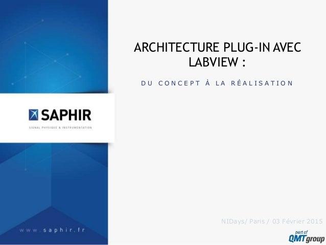 D U C O N C E P T À L A R É A L I S A T I O N ARCHITECTURE PLUG-IN AVEC LABVIEW : NIDays/ Paris / 03 Février 2015