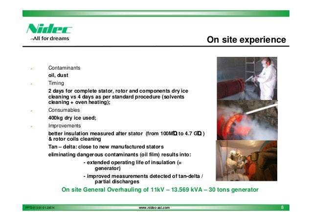 Nidec asi service dry ice blasting for Motor winding cleaning solvent