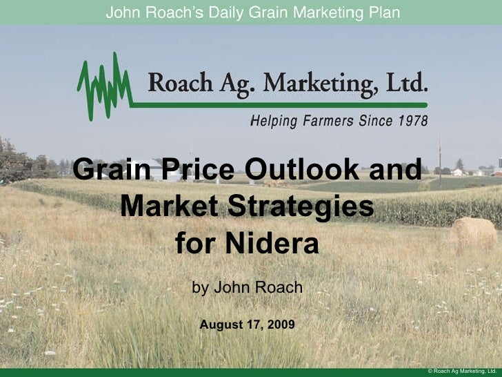 © Roach Ag Marketing, Ltd. Grain Price Outlook and Market Strategies for Nidera by John Roach August 17, 2009