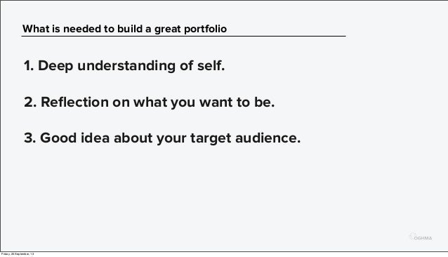 What is needed to build a great portfolio 1. Deep understanding of self. 2. Reflection on what you want to be. 3. Good idea...