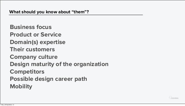"""What should you know about """"them""""? Business focus Product or Service Domain(s) expertise Their customers Company culture D..."""