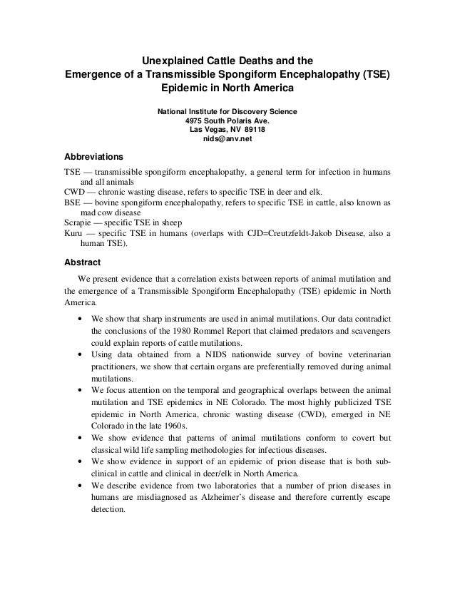 Unexplained Cattle Deaths and theEmergence of a Transmissible Spongiform Encephalopathy (TSE)                  Epidemic in...
