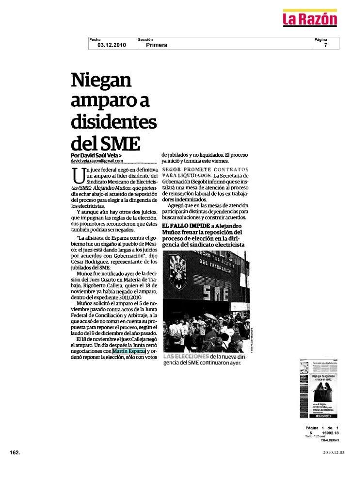 Niegan       amparo a       disidentes       del SME       Por David Saúl Vela                          de jubilados y no ...