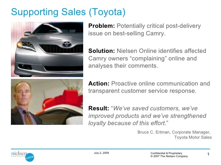 Supporting Sales (Toyota)                 Problem: Potentially critical post-delivery                 issue on best-sellin...