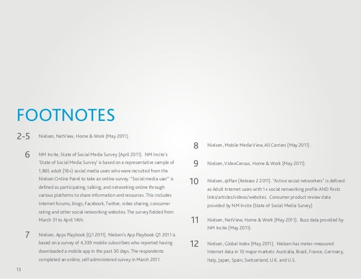 FOOTNOTES2-5      Nielsen, NetView, Home & Work (May 2011).                                                               ...