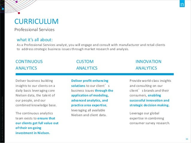 CURRICULUM Professional Services what it's all about: As a Professional Services analyst, you will engage and consult with...