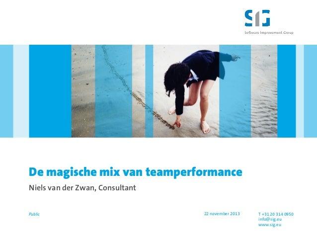 De magische mix van teamperformance Niels van der Zwan, Consultant  Public  22 november 2013  T +31 20 314 0950 info@sig.e...