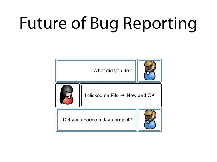 Future of Bug Reporting               My Eclipse has crashed.                      What did you do?                   I cl...