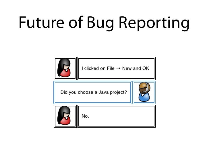 Future of Bug Reporting                     What did you do?                  I clicked on File ! New and OK          Did ...