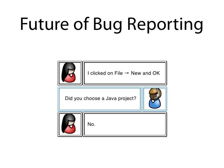 Future of Bug Reporting                I clicked on File ! New and OK         Did you choose a Java project?              ...