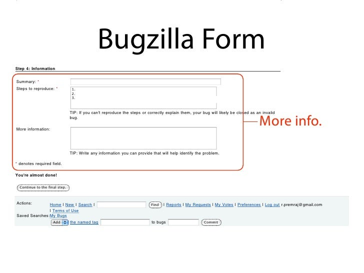 Open bug activity in the last two weeks.                                               Bugzilla Form Step 4: Information  ...