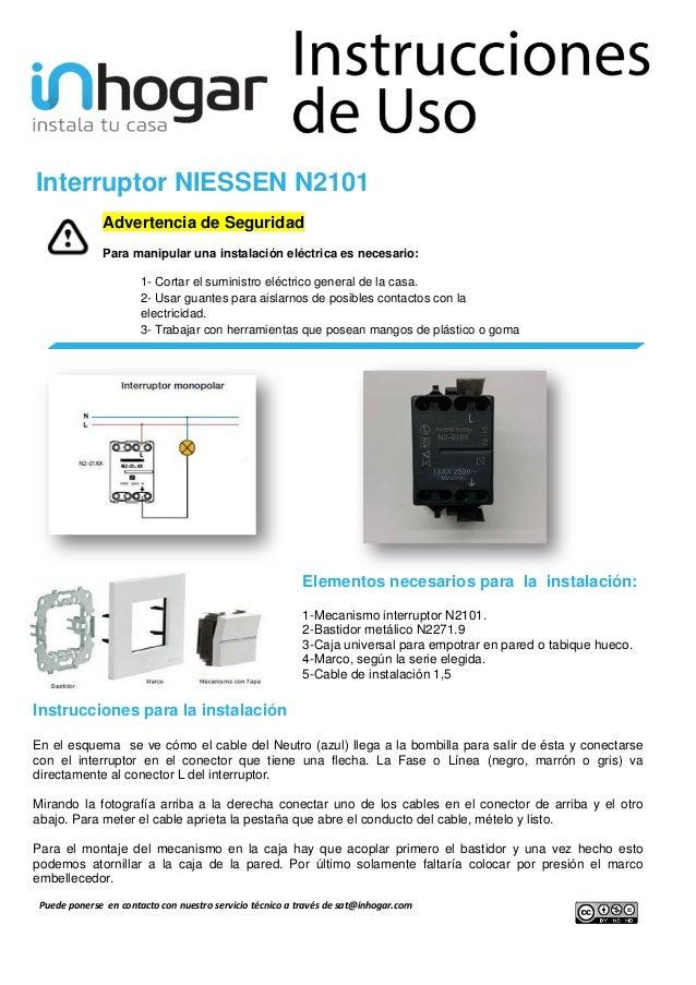 Instalar el interruptor niessen n2101 - Pulsadores de luz ...