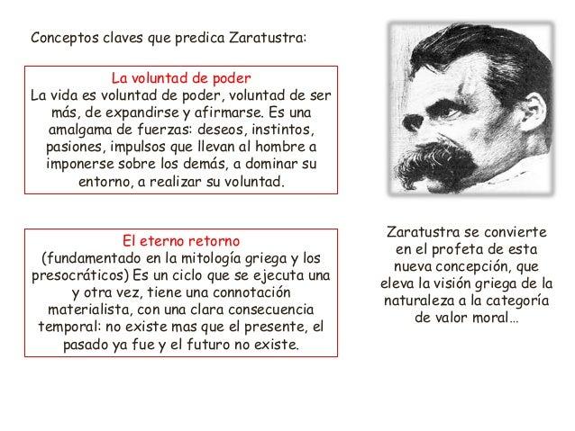 Conceptos claves que predica Zaratustra: La voluntad de poder La vida es voluntad de poder, voluntad de ser más, de expand...