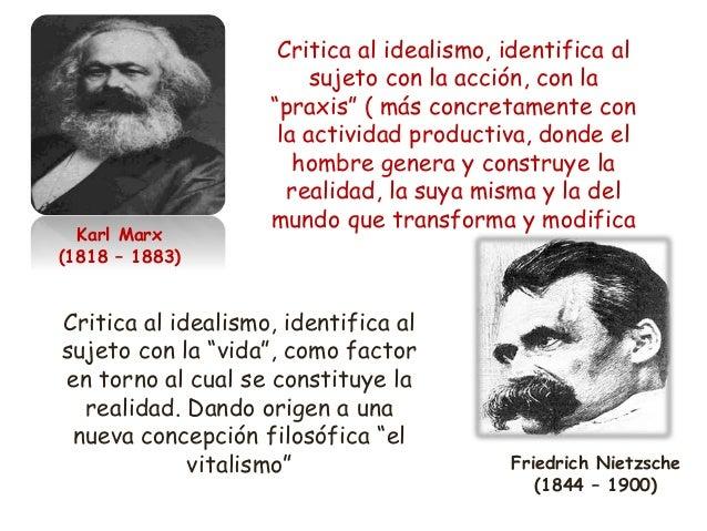 Karl Marx (1818 – 1883) Friedrich Nietzsche (1844 – 1900) Critica al idealismo, identifica al sujeto con la acción, con la...