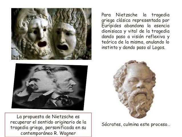 Para Nietzsche la tragedia griega clásica representada por Eurípides abandona la esencia dionisiaca y vital de la tragedia...