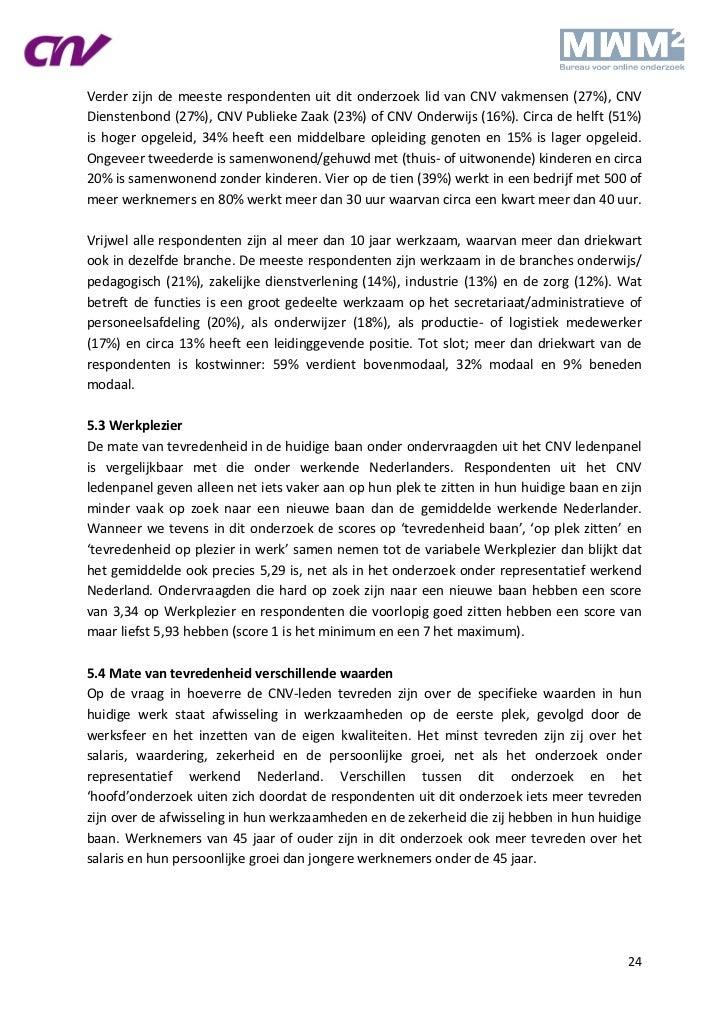 Verder zijn de meeste respondenten uit dit onderzoek lid van CNV vakmensen (27%), CNVDienstenbond (27%), CNV Publieke Zaak...