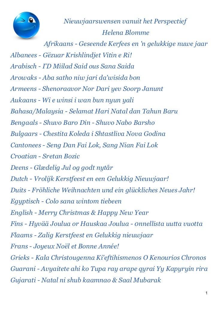 Nieuwjaarswensen vanuit het Perspectief                               Helena Blomme           Afrikaans - Geseende Kerfees...