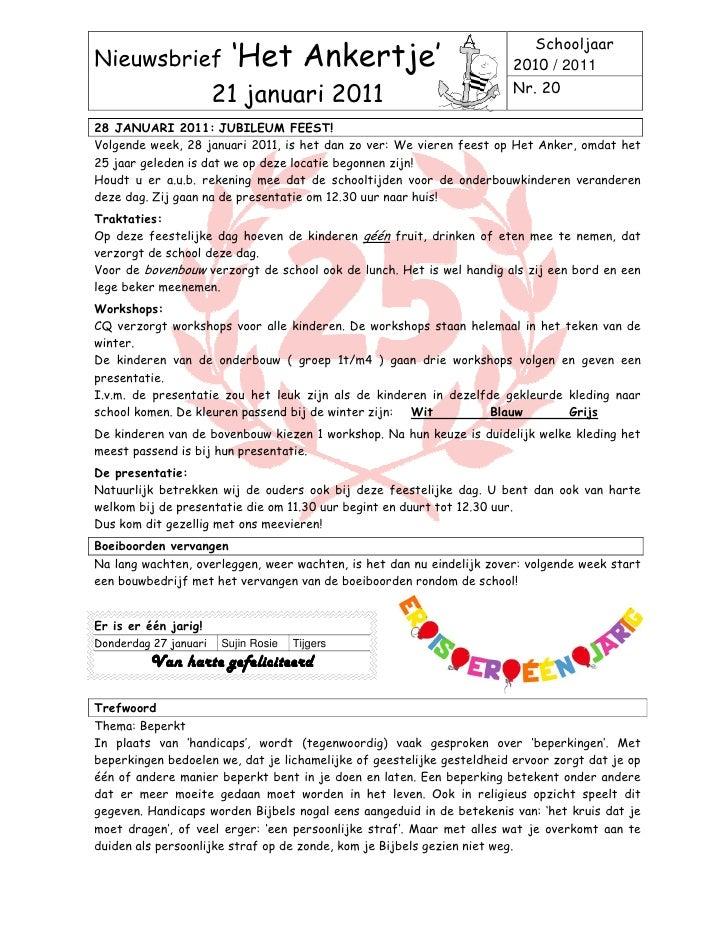 SchooljaarNieuwsbrief             'Het Ankertje'                                 2010 / 2011                              ...