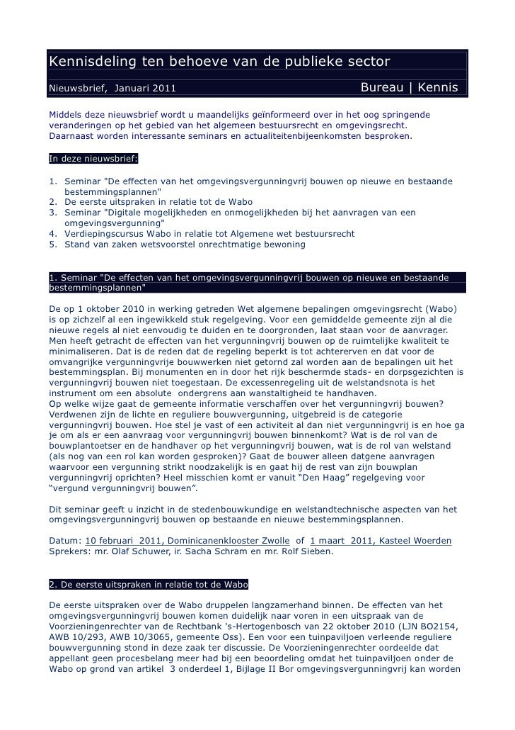 Kennisdeling ten behoeve van de publieke sector Nieuwsbrief, Januari 2011                                               Bu...