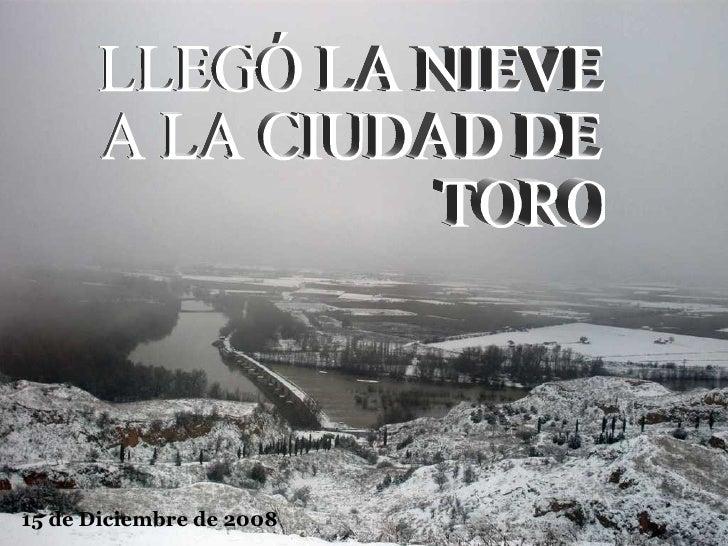 LLEGÓ LA NIEVE A LA CIUDAD DE TORO 15 de Diciembre de 2008