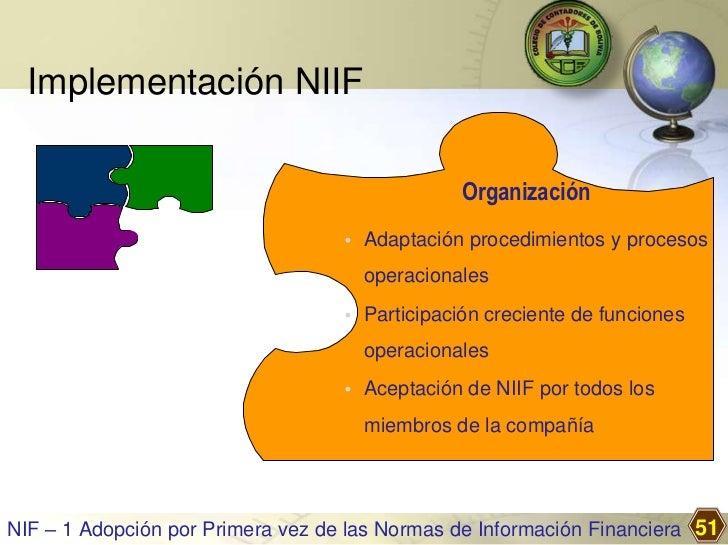Implementación NIIF                                                Organización                                   • Adapta...