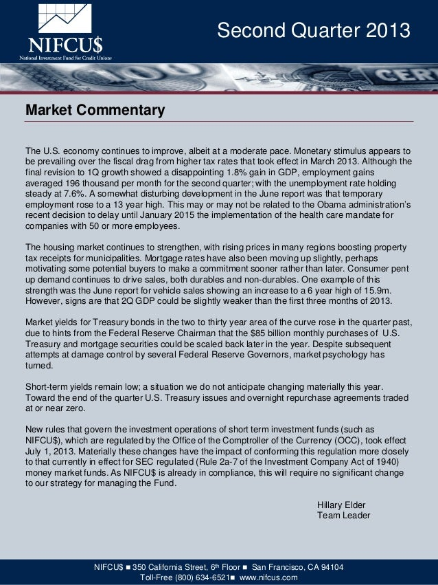 The U.S. economy continues to improve, albeit at a moderate pace. Monetary stimulus appears to be prevailing over the fisc...