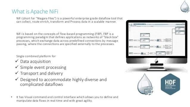 "Whatis Apache NiFi NiFi (short for ""Niagara Files"") is a powerful enterprise grade dataflow tool that can collect, route e..."