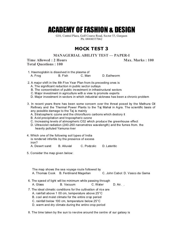 Nift Question Papers For Fashion Management Mat1