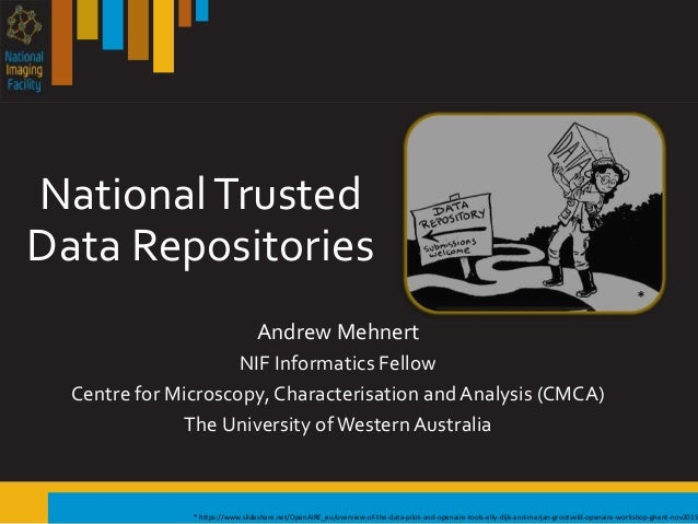 NationalTrusted Data Repositories Andrew Mehnert NIF Informatics Fellow Centre for Microscopy, Characterisation and Analys...
