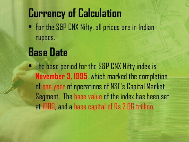 nifty calculation Nse & nifty -calculations 1 indian stock exchange nse and how their indices  are calculated by: subhankar nandan (nmba-47) loyola.