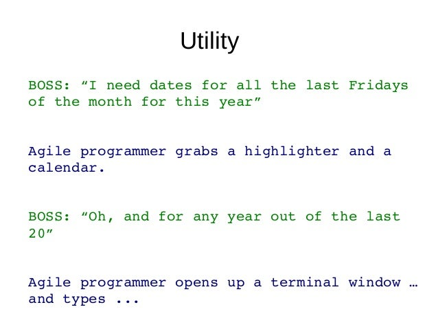 """Last Friday in Perl6 (5 LOC)sub MAIN (Int :$year = Date.today.year) {my @fri;for Date.new(""""$year-01-01"""") .. Date.new(""""$yea..."""