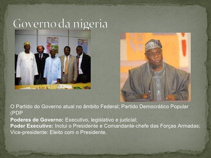 Poderes de Governo:  Executivo, legislativo e judicial; Poder Executivo:  Inclui o Presidente e Comandante-chefe das Força...