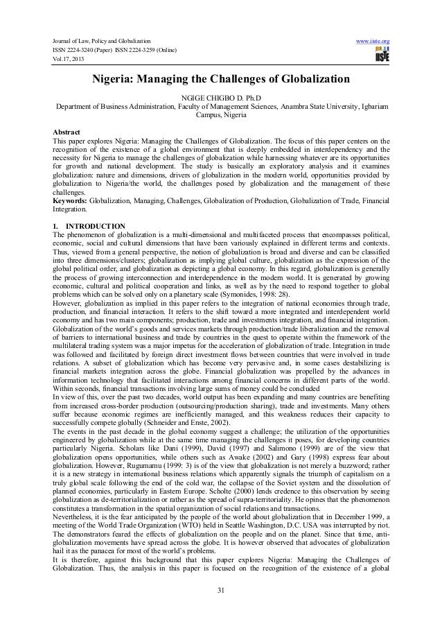 Journal of Law, Policy and Globalization ISSN 2224-3240 (Paper) ISSN 2224-3259 (Online) Vol.17, 2013  www.iiste.org  Niger...