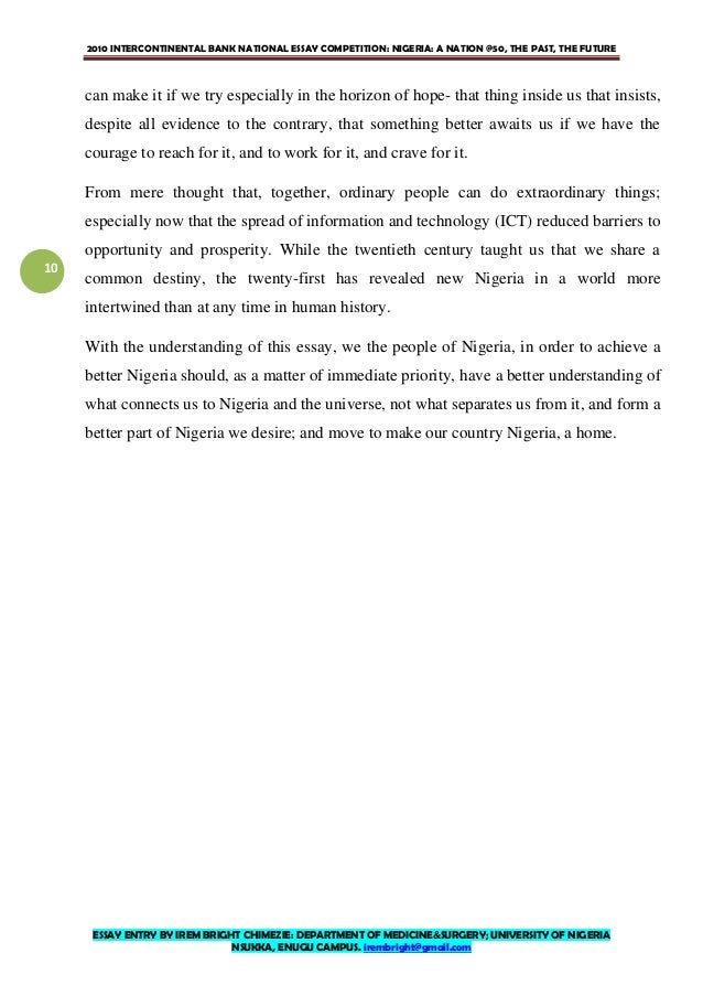 ia at essay by irem bright chimezie  we 10 2010 intercontinental bank national essay