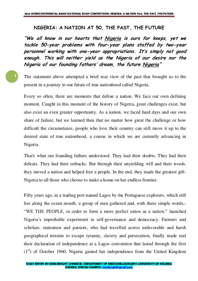 ia at essay by irem bright chimezie  3 2010 intercontinental bank national essay