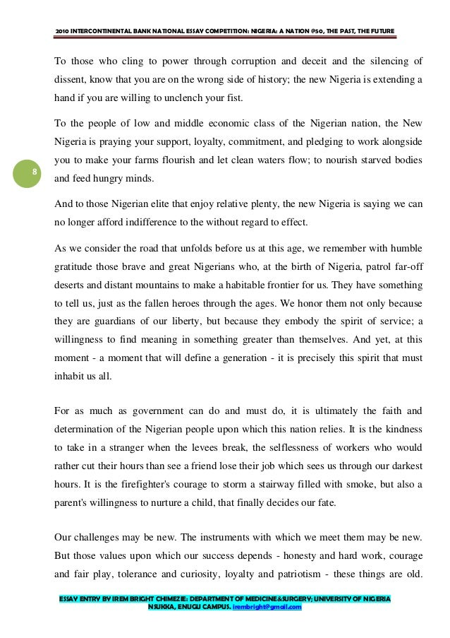Personal Narrative Essay About Your Life   Intercontinental Bank National Essay  Arguments Essay Topics also House On Mango Street Essay Nigeria At  Essay By Irem Bright Chimezie Writing A Good Scholarship Essay