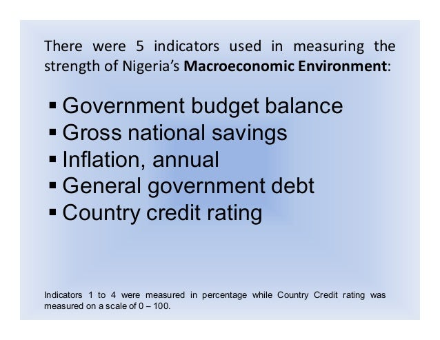 macro environment in nigeria Swot analysis of nigerian business environment uploaded by the managers or ceos of the organizations have to account for and consider all the external and internal as well as macro and global environment nigeria as a country is deficient in her economies and therefore requires foreign.