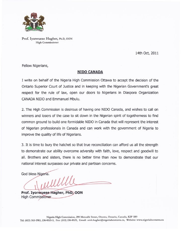how to write a letter nigerian embassy