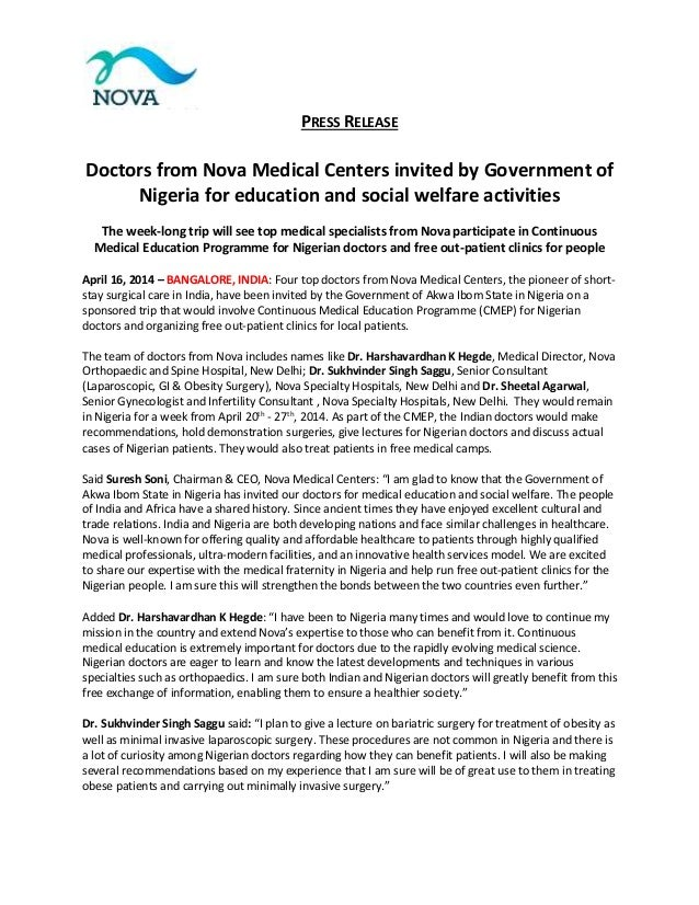 PRESS RELEASE Doctors from Nova Medical Centers invited by Government of Nigeria for education and social welfare activiti...