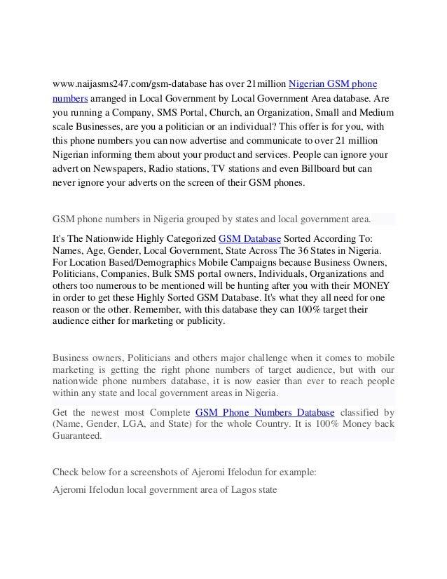 GSM NUMBERS FOR MARKETING | GSM DATABASE | GSM DATABASE NIGERIA
