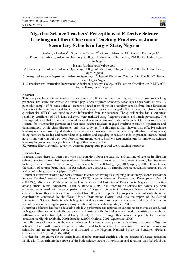 Journal of Education and Practice ISSN 2222-1735 (Paper) ISSN 2222-288X (Online) Vol.4, No.25, 2013  www.iiste.org  Nigeri...