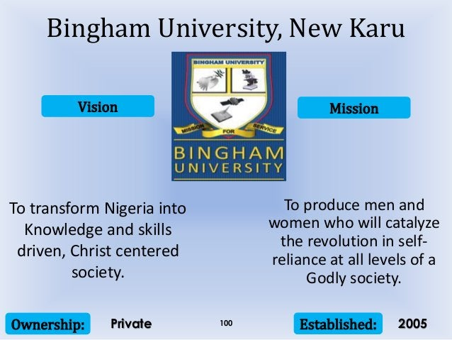 Vision Mission Ownership: Established:100 To transform Nigeria into Knowledge and skills driven, Christ centered society. ...