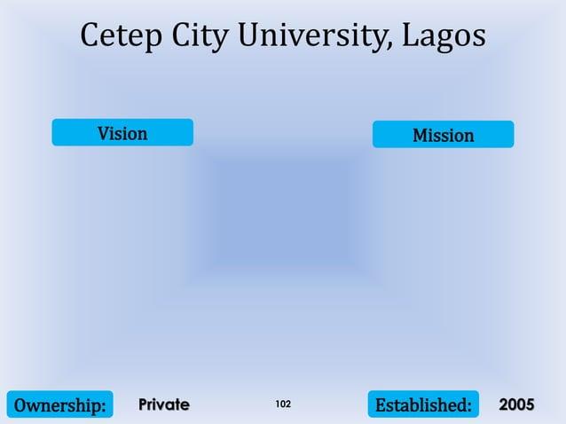 Vision Mission Ownership: Established:102 Cetep City University, Lagos Private 2005