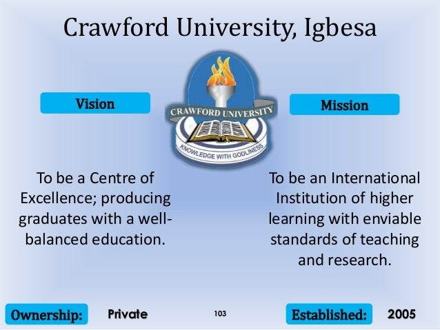 Vision Mission Ownership: Established:103 To be a Centre of Excellence; producing graduates with a well- balanced educatio...