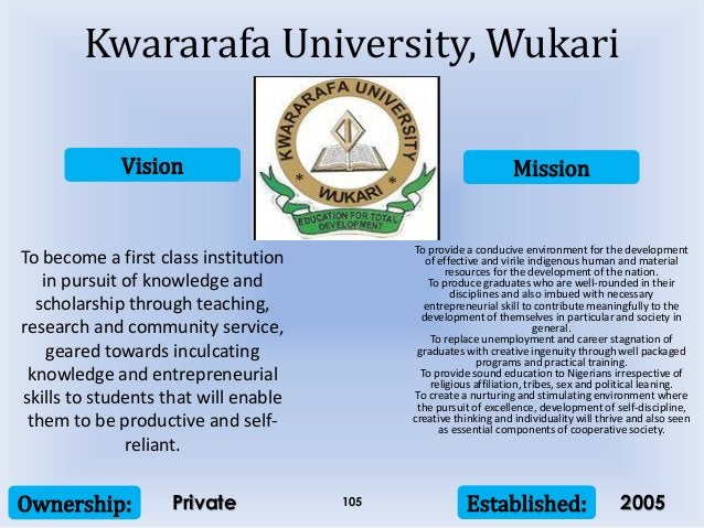 Vision Mission Ownership: Established:105 To become a first class institution in pursuit of knowledge and scholarship thro...