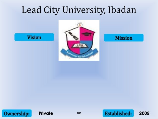 Vision Mission Ownership: Established:106 Lead City University, Ibadan Private 2005
