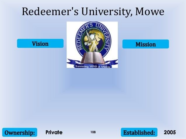 Vision Mission Ownership: Established:108 Redeemer's University, Mowe Private 2005