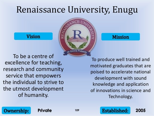 Vision Mission Ownership: Established:109 To be a centre of excellence for teaching, research and community service that e...