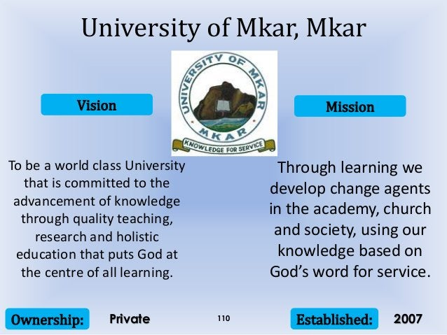 Vision Mission Ownership: Established:110 To be a world class University that is committed to the advancement of knowledge...